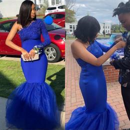 2019 robe de soirée bleue pour les filles Robes de bal sirène bleu royal pour les filles noires sud-africaines sexy une épaule dentelle appliques tulle robes de soirée promotion robe de soirée bleue pour les filles