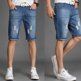 2019 синие шорты человек New 2019 casual Cotton Denim Fashion shorts Summer short jeans Pants Casual Men Solid Belt zipper Light blue and dark blue скидка синие шорты человек