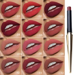 2019 sexy dunkles make-up 12 Farbe Mattwasserdicht Lippen Sexy Red Long Lasting Make-up Lippenstift Bleistift Schönheit Lippen Make-up Kosmetik Nude dunkle Lippen Liner D40 rabatt sexy dunkles make-up