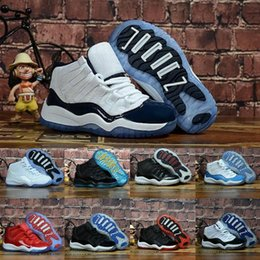 kids football trainers Coupons - 2019 Bred XI 11S Kids Basketball Shoes Gym Red Infan &Children toddler Gamma Blue Concord 11 trainers boy girl tn sneakers Space Jam