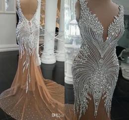 Deutschland 2019 Dubai Arabisch Luxus Mermaid Brautkleider Perlen Kristalle Rhinetone Sweep Zug Sparkly Afrikanische Brautkleid Brautkleider Gewand Versorgung