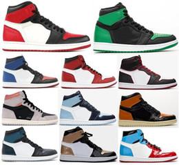 Alte scarpe da tennis online-Alta OG 1 Bloodline Toe Bred grigio neutro UNC brevetto di pallacanestro Scarpe Uomo Nero Oro 1s le dita dei Top 3 Chameleon scarpe da tennis con la scatola