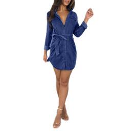 Vestido de bolsillo de mezclilla online-Bolsillos de mezclilla para mujer Vestido de vaquero Vestido de mujer Estilo de verano Camisa de vendaje de cintura alta suelta Vestido de jeans Tallas grandes