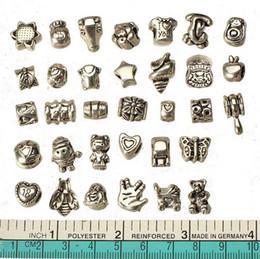 Fornecedores de pulseiras de prata on-line-Europeu mix contas para pandora pulseiras diy set metal grande buraco antigo prata artesanato novos fornecedores de moda acessórios de jóias 160 pcs