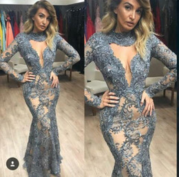 vestiti jenner Sconti Yousef aljasmi 2020 Lace Prom dress Long kardashian Dress Long Sleeve Lace Applique Tulle Mermaid Kylie Jenner Zuhair murad