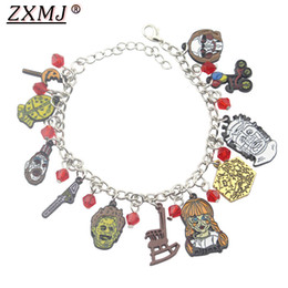 Halloween anime figuren online-ZXMJ Jason Voorhees Armband Horrorfilm Black Friday Karikatur-Abbildung Anime-Armbänder Charme-Weinlese für Halloween Schmuck Geschenke