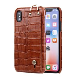 Iphone 11 custodia in pelle marrone online-Caso Wristband Brown per iPhone 11 Pro max 7 8 6 6s plus pelle 7plus copertura per iPhone X Xs Max XR