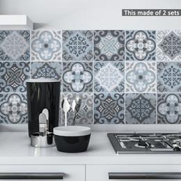 mobiliário mediterrâneo Desconto Funlife 15 * 15 cm / 20 * 20 cm bluegrey geometria mediterrânica diy pvc adesivo à prova d 'água autoadesiva mobília do banheiro telha adesivo ts058