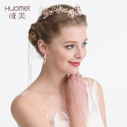 eae2a04ca8961d NPASON 2019 Rose Gold Blume Hochzeit Tiara Stirnband Blatt Kopfschmuck Für  Frauen Party Prom Braut Haar Krone Zubehör D2224 gold prom stirnband im  Angebot