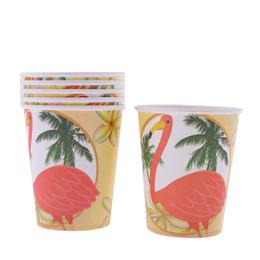 6 pcs Flamingo Papel Cup Suprimentos de Aniversário de Festa de Aniversário das Crianças Decoração Tema Do Dia Das Bruxas Universal Decoração Do Partido de Fornecedores de café, mexendo, varas