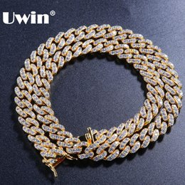 9mm chain Coupons - Uwin 9mm Micro Pave Iced CZ Cuban Link Necklaces Chains Gold Color Luxury Bling Bling Jewelry Fashion Hiphop For Men