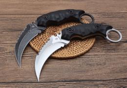 фиксированные ножи Скидка Strider Shadow Claw нож D2 60 HRC karambit Открытый охотничий нож Отдых на природе Кемпинг Нож с фиксированным лезвием 1 ШТ. бесплатная доставка