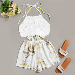 boho outfits Coupons - Dotfashion Beige Knot Back Halter Lace Top With Floral Print Shorts Women 2019 Summer Boho Cami Top With Shorts Two Piece Outfit