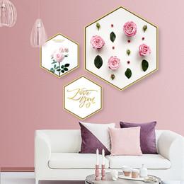 Marcos decorativos para colgar online-Pequeño mural fresco esto es Love Hexagon pintura decorativa sala de estar mural Creatividad Arte pinturas marco Cuadro colgante