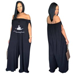 5699fe2e28 Women Champions Loose Pants Jumpsuit Summer Sleeveless Off Shoulder Rompers  Brand Letter Wide Leg Trousers One Piece Fashion Club Wear A3132