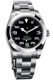мужские часы ремешок из нержавеющей стали AIR KING черный циферблат зеленый указатель автоматический movment сапфировое стекло зеркало мужские часы от