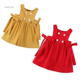 Niñas vestidos cruzados online-Baby Girl Princess Dresses Toddler Girl Infant Baby Correa Vestido de doble botonadura Trajes de niños Ropa Sin mangas Bow-Ti Vestido plisado 1-5T