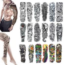 Teschi fiori manica uomo online-Tatuaggio a manica lunga tatuaggio braccio impermeabile impermeabile Adesivo teschio angelo rosa loto da uomo completo di adesivi tatoo bikini per spiaggia in estate
