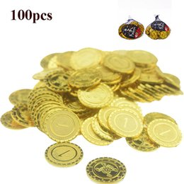 2019 moedas de ouro de brinquedo Halloween Plastic pirata Gold Coin Chip 1 Yuan Toy Valor Nominal moedas de ouro de brinquedo barato
