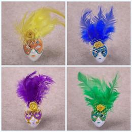 2019 maschere ornamenti Maschera di piume Forma Magnete da frigorifero Ornamento multicolore Decorazioni per la casa Regalo Mini magneti per frigorifero squisiti popolari Zhao portatile maschere ornamenti economici
