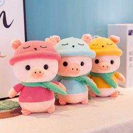 abucheos lindos de la gorrita tejida Rebajas Nuevos lindos juguetes de peluche de dibujos animados con capucha cerdo muñeca muñeca Kawaii dormir almohada cerdo muñeca de peluche de juguete para niños regalos de cumpleaños 3 tamaños