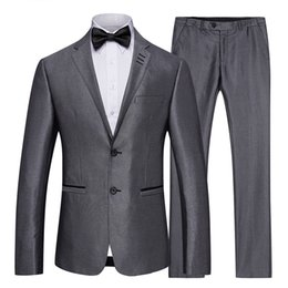 Männer graue farbe passt stile online-Mens Hochzeit Anzüge Solid Color 2 Stück Set Grau Smoking-Jacke und Hose Slim Fit Bräutigam Anzug Styles Hohe Qualität Famous
