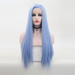 Mavi Sentetik Dantel Açık Peruk Yüksek Sıcaklık Isıya Dayanıklı Tutkalsız Uzun İpek Düz Açık Mavi Sentetik Lacefront Peruk Yan Parça nereden