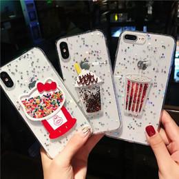 Iphone 3d gelato online-Custodia Shinny Dynamic 3D Summer Ice Cream glitter Casi Rainbow Sequins Custodia TPU cover per iPhone XR XS Max X 8 7 Plus