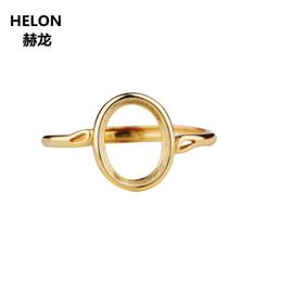2020 anéis de lapis 925 Mulheres Silver Ring Wedding Engagement 8x10mm Oval Cabochão Semi Monte Anel caber Âmbar Lapis Lazuli Definir Atacado desconto anéis de lapis