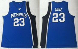 fans for sale Promo Codes - Men College 23 Basketball Derrick Rose Jersey Sale Blue University Memphis Tigers Jerseys Uniform Breathable For Sport Fans Free Shipping