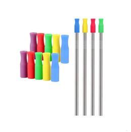 Deutschland 2019 8 Farben Lager Silikon-Spitzen für Edelstahlstrohhalme Zahnkollisionsschutzstrohhalme decken Silikonschläuche ab Versorgung