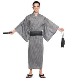 4019379b5d Men Kimono Bathrobe Yukata Long Breathable Pajamas Summer Japanese Style  Household Cotton Robe A9089