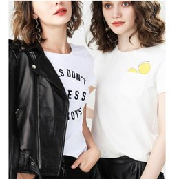 Camiseta branca pura on-line-Dropshop 19ss venda quente moda preto e branco das mulheres designer de camisetas carta de impressão de algodão puro das mulheres designer de roupas