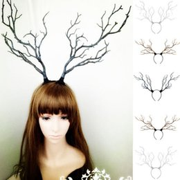 fancy long hair Coupons - Long Antlers Tree Branches Horns Hat Hair Headband Cosplay Party Fancy Dress NEW