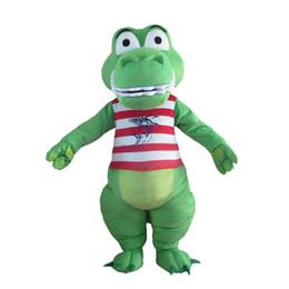 promozioni personalizzate Sconti Costume adulto del costume della mascotte su ordinazione del costume della mascotte verde del coccodrillo con la testa dell'interno del fan per la promozione commerciale di pubblicità