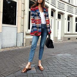2019 a cuadros rojos tallas grandes Tweed Plaid Red Blazer 2019 Otoño Invierno Rayas Tallas grandes Blazer para mujer Nueva moda Mujer Damas Traje Abrigo Negocio rebajas a cuadros rojos tallas grandes