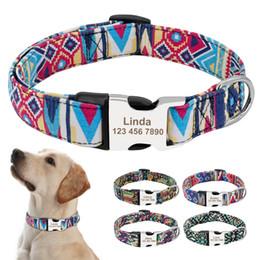 fivelas de coleira de cachorro de metal atacado Desconto atacado Collar Nylon filhote de cachorro personalizado Laser gravado metal Buckle colares de cão Pet ID Tag personalizado colar perro para Beagle Pitbull