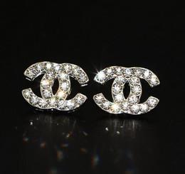 Boucles d'oreilles de designer de luxe pour les bijoux de femmes Shinning couleur argent A + CZ cristal or double lettre boucles d'oreilles pour le cadeau de mariage de fête ? partir de fabricateur