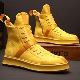 2019 nouveau Cuir Véritable Jeunes Hommes Haut Chaussures De Mode À Lacets Chaussures Botte Court pour Hommes ? partir de fabricateur