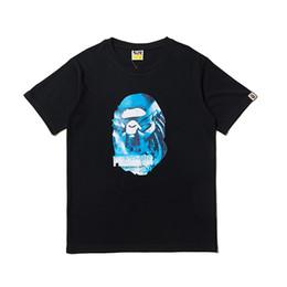 Голубая черная повседневная мужская рубашка онлайн-19ss Bape Designer Футболка Мужские Женщины Высокого Качества С Короткими Рукавами Синий Обезьяна Голова Мужская Хлопок Повседневная Тройники Черный Белый