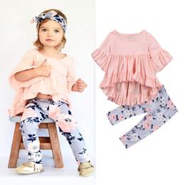 2019 pantalon bébé fille Asymétrique Bébé Filles Tenues Vêtements Rose Volants Tops Fleur Pantalon 2 PCS Ensemble Manche Manches Enfant Vêtements ensemble pantalon bébé fille pas cher