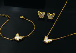 Ожерелье кольцо набор бабочка онлайн-Марка свадебные украшения набор для женщин бабочка ожерелье золотой цвет синий мать Shell Перл Клевер лист серьги браслет кольца