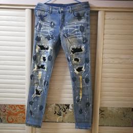 2019 point de mode hommes jeans Street Fashion Men Jeans Rétro Lavé Peinture Déchiré Jeans Hommes Denim Punk Style Détruit Pantalon Hip Hop Skinny Jeans523 promotion point de mode hommes jeans