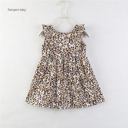 vestidos de impressão de leopardo para crianças Desconto menina miúdos roupa vestido O-neck mangas da cópia do leopardo menina elegante verão Lolita estilo simples vestido 80-110cm