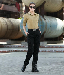 trousers military women Coupons - Freedom Knight Women Military Cargo Pants Female Soldier Training Dance Spring Autumn Outdoors Black Green Casual Trousers
