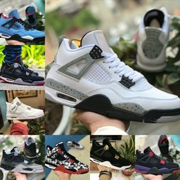 a027af0db803 Hot Sell 2019 New 4s Tattoo Red Black White Cement Graffiti Cactus Jack  Raptors Mens Shoes cheap 4 Kaws Travis Scotts Royalty Bred Sneakers