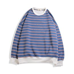 hoodie das listras brancas Desconto Branco Stripe Hoodie Homens Japoneses Hip Hop Solto Streetwear Em Torno Do Pescoço Sweashirt Dos Homens Listra de Alta Qualidade Com Capuz de Algodão Pulôver