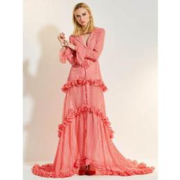 vestidos de color rosa claro casual Rebajas 2019 mujeres de primavera vestido largo Light Pink Plaid Sexy Turn-down collar con volantes vestido de manga larga elegante para las mujeres vestido de fiesta
