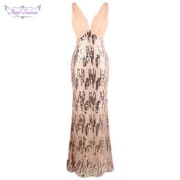 padrões do pescoço do vestido formal Desconto Anjo-modas das mulheres plissada v pescoço padrão lantejoula longo formal vestido de sereia champanhe w-190511-s