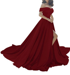 red ruffled evening gown Promo Codes - Dark Red Off The Shoulder Long Satin Evening Dresses 2019 Sexy High Split V-Neck Prom Gowns Vestidos De Fiesta BA6777